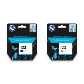 HP 123 Black/Tri-colour Original Ink Cartridge Bundle